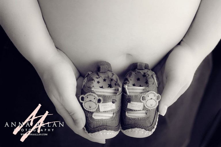 Baby booties maternity photo shoot